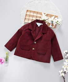 ToffyHouse Full Sleeves Party Wear Corduroy Blazer - Maroon