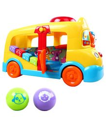 Kiddale Multi-Functional Musical School Toy Bus - Yellow & Red