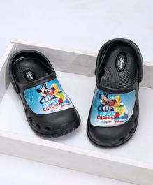 Cute Walk by Babyhug Clogs With Back Strap Mickey Club House Design - Black