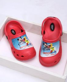 Cute Walk by Babyhug Clogs With Back Strap Mickey Club House Design - Red