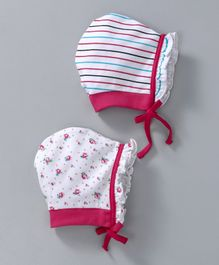 Babyhug Cotton Bonnet Caps Striped & Floral Print Pack of 2 - Pink White