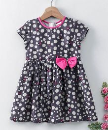 Babyhug Half Sleeves Frock Bow Applique - Dark Purple