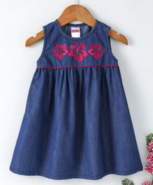 Babyhug Sleeveless Denim Frock Hibiscus Embroidery - Dark Blue