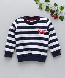 Simply Full Sleeves Winter Wear Striped Tee Champ 07 Print - Blue White