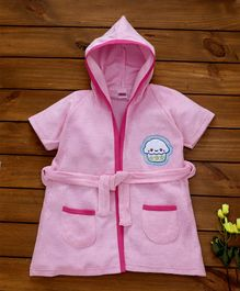 Babyhug Short Sleeves Cotton Hooded Bath Robe Cupcake Patch - Pink