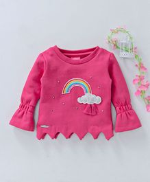 Button Noses Bell Sleeves Top With Rainbow & Clouds Patch - Dark Pink