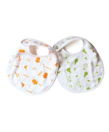 Shumee Organic Muslin Snap Button Bibs Duck And Pear Print - Pack of 2