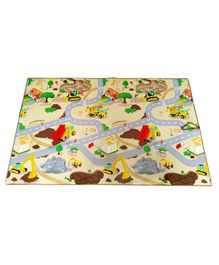 FashBlush Non Woven Free Play Mat Construction Print - Multicolor