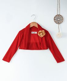 Soul Fairy Flower Applique Full Sleeves Shrug - Red