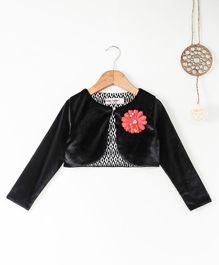 Soul Fairy Velvet Full Sleeves Shrug With Corsage - Black