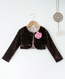 Soul Fairy Velvet Full Sleeves Shrug With Corsage - Brown