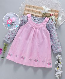 ToffyHouse Sleeveless Corduroy Frock With Tee Floral Print & Embroidery - Pink Grey