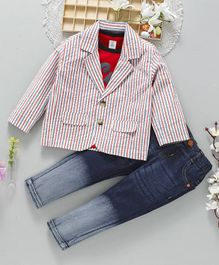 ToffyHouse Party Wear Half Sleeves Tee And Jeans With Stripe Blazer Text Print - Red Blue