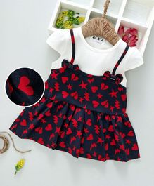 Kookie Kids Heart & Star Printed Cap Sleeves Dress - Navy