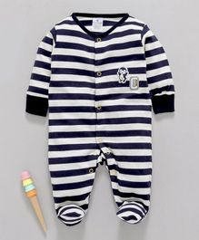 First Smile Full Sleeves Footed Romper Striped - White Navy
