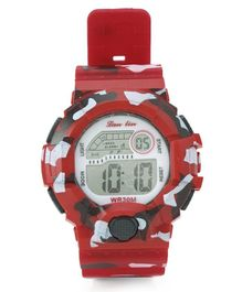 Digital Wrist Watch Camouflage Design - Red