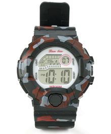 Digital Wrist Watch Camouflage Design - Black