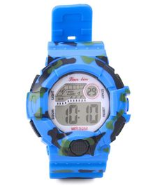 Digital Wrist Watch Camouflage Design - Blue