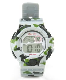 Digital Wrist Watch Camouflage Design - White