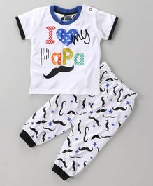 Mini Taurus Short Sleeves Tee And Lounge Pant I Love Papa Print - Blue White