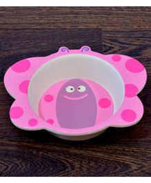Quirky Monkey Butterfly Shape Melamine Feeding Bowl - Pink
