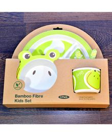 Quirky Monkey Frog Theme Dinner Set Of 5 - Green