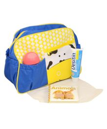 Quirky Monkey Diaper Bag With Changing Mat Cow Print - Blue & Yellow