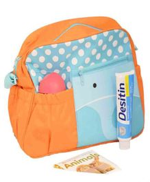 Quirky Monkey Diaper Bag With Changing Mat Elephant Print - Blue & Orange