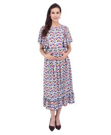 MomToBe Short Sleeves Maternity Dress Square Print - Sky Blue