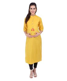 MomToBe Three Fourth Sleeves Maternity Solid Colour Cotton Kurti - Yellow