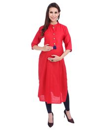 MomToBe Three Fourth Sleeves Maternity Solid Colour Cotton Kurti - Red