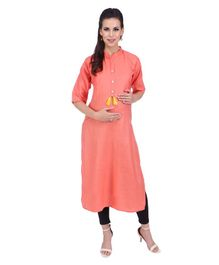 MomToBe Three Fourth Sleeves Maternity Solid Colour Cotton Kurti - Peach