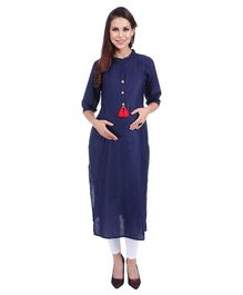 MomToBe Three Fourth Sleeves Maternity Solid Colour Cotton Kurti - Dark Blue