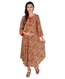 MomToBe Long Sleeves Maternity Kurti - Brown & Orange