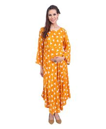 MomToBe Three Fourth Sleeves Maternity Kurti Geometric Print - Yellow