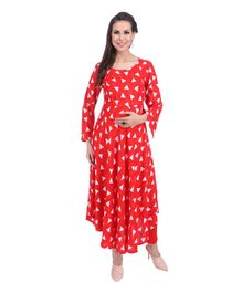 MomToBe Maternity Kurti - Tiger Orange