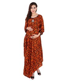 MomToBe Full Sleeves Maternity Kurti - Orange