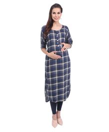 MomToBe Checks Printed Maternity Kurti - Prussian Blue