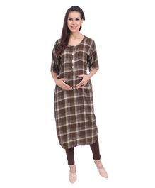 MomToBe Checks Printed Maternity Kurti - Umber Brown