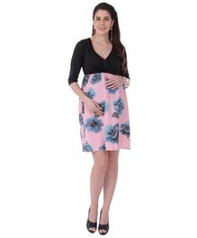 MomToBe Half Sleeves Maternity Dress Floral Print - Black Pink Blue