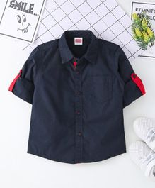 Babyhug Full Sleeves Solid Poplin Shirt - Navy Blue