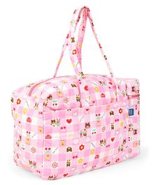 Mee Mee Diaper Bag With Attached Insulated Bottle Warmer Flower Print - Pink