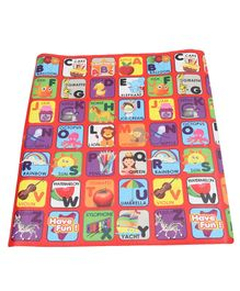 Sunta Waterproof Eva Baby Play & Crawl Roll Mat Alphabets With Pictures - Red