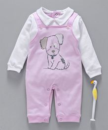Cucumber Full Sleeves Romper Puppy Print - Pink White