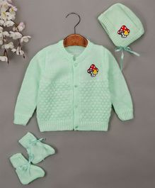Buttercup From Knitting Nani Full Sleeves Mushroom Design Sweater With Cap & Booties - Mint Green