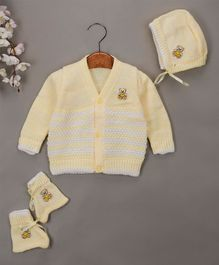 Buttercup From Knitting Nani Full Sleeves Teddy Bear Design Sweater With Cap & Booties - Yellow