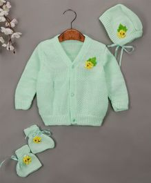 Buttercup From Knitting Nani Full Sleeves Flower Design Sweater With Cap & Booties - Mint Green