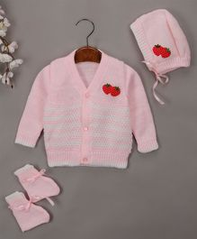 Buttercup From Knitting Nani Full Sleeves Strawberry Design Sweater With Cap & Booties - Pink & White