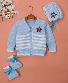 Buttercup From Knitting Nani Striped Sweater With Cap & Booties - Blue & White