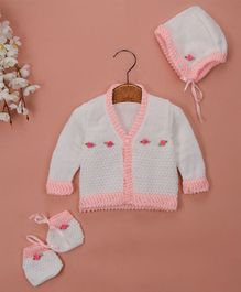 Buttercup From Knitting Nani Full Sleeves Rose Design Sweater With Cap & Booties - White & Pink